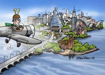 Kaupungin keskusta saattaa muuttua monin tavoin. Tässä graafikko Jukka Jokisen humoristinen näkemys.