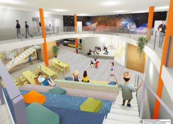Likimain tämänkaltainen on uuden Varilan koulun aula.