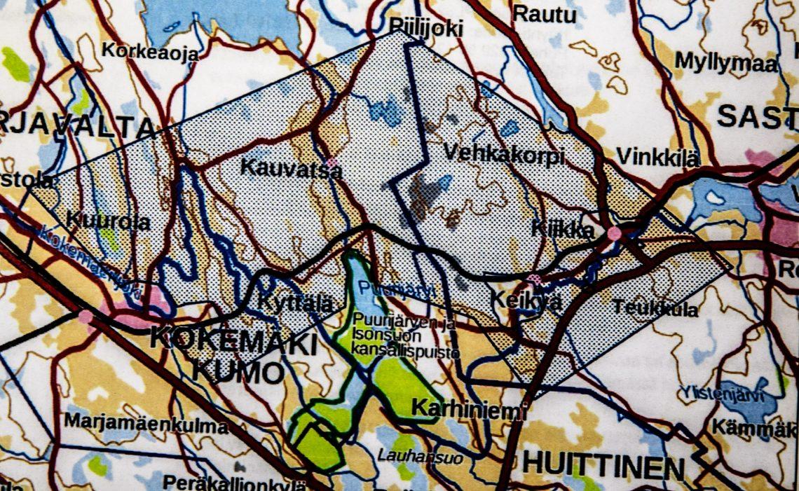 Rasteroitu alue kartalla kertoo alueen, jolle vaasalaisyritys on hakenut varausluvan.