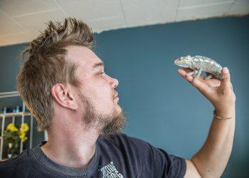 Aleksi Forss ja pantterikameleontti Jorma.
