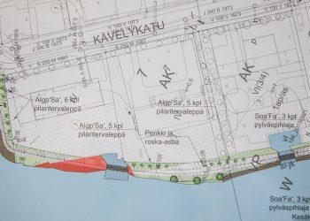 Ruskea kertoo täytöstä ja vihreä kaupungin puistoalueesta. Tämän kuvan tilanne kertoo vaihtoehdosta, jossa Kävelykatu yhden edustalla oleva silta on puinen kaarisilta. Ponttinisilta olisi selvästi pidempi.