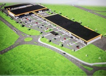 Tällaiseksi suunniteltiin Roismalan liikekeskusta pari vuotta sitten. Taustalla kulkee valtatie. Punkalaitumentiestä näkyy kuvassa vain etualan liikenneympyrä.