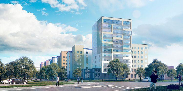 Havainnekuva Poutuntien uusista kerrostaloista. Etualalla 12-kerroksinen kerrostalo, jonka on tarkoitus toimia porttina Nokian keskustaan. (Kuva: Aihio Arkkitehdit Oy)