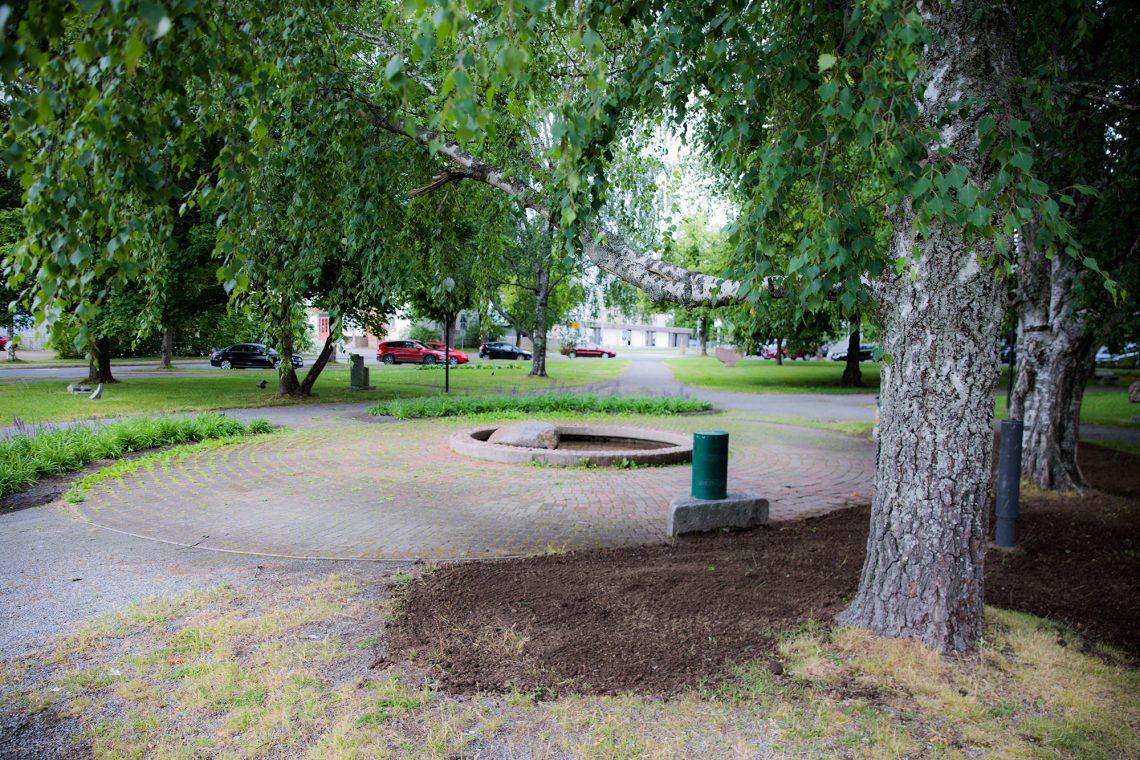 Puisto ilman juomarijoukkoa.