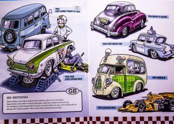 Jukka Jokista viehättävät autot, joiden muotoilu on omaperäistä. Aukeama uudesta lastenkirjasta.