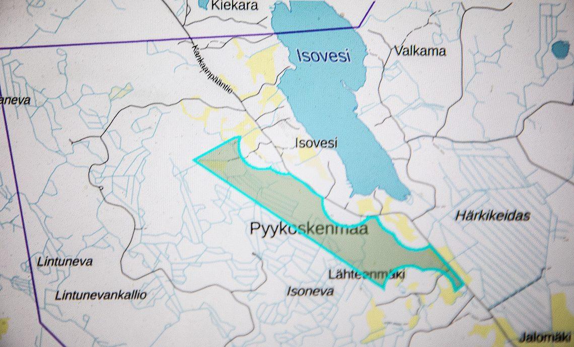 Tummalla malminetsintäluvan alue Suodenniemellä.